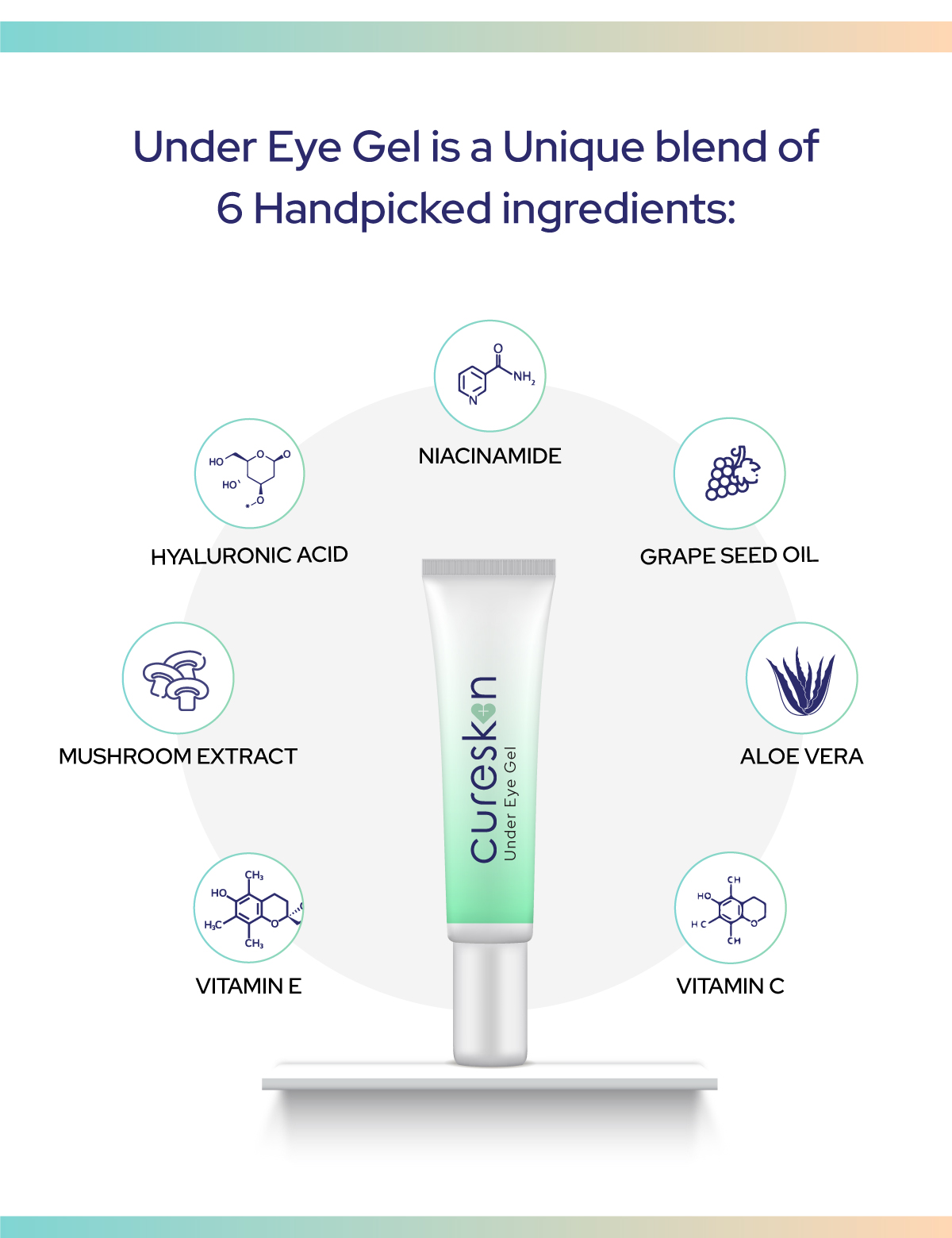 Contains the goodness of 6 handpicked ingredients, tested by dermatologists: Niacinamide, Hyaluronic Acid, Grape Seed Oil, Mushroom Extract, Aloe Vera, Vitamin E and Vitamin C